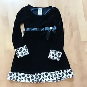 Holiday Editions Dresses - Holiday Editions Black Velour Dress Leopard trim